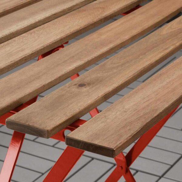 ТЭРНО Садовый стол, красный, светло-коричневая морилка, 55x54 см - 904.245.75
