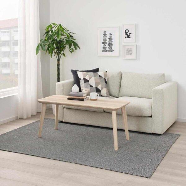 ТИПХЕДЕ Ковер безворсовый, серый, белый, 155x220 см - 404.700.46