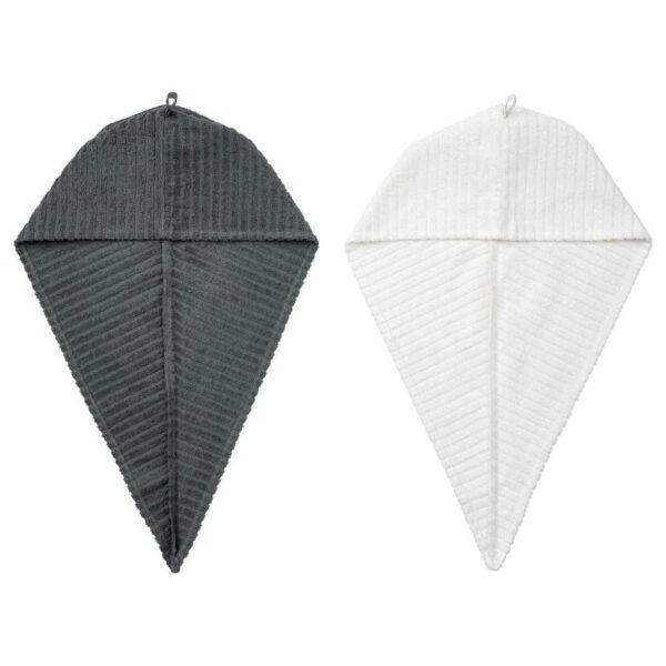 ТРЭТТЕН Полотенце для сушки волос, темно-серый, белый - 504.771.27