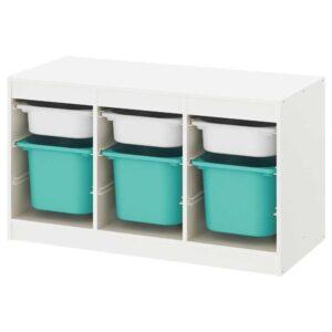 ТРУФАСТ Комбинация д/хранения+контейнеры, белый, бирюзовый, 99x44x56 см - 693.288.06