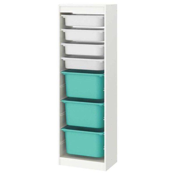 ТРУФАСТ Комбинация д/хранения+контейнеры, белый, белый бирюзовый, 46x145 см - 093.294.65