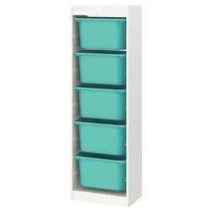 ТРУФАСТ Комбинация д/хранения+контейнеры, белый, бирюзовый, 46x30x145 см - 893.294.71