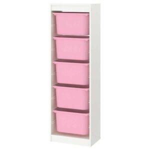 ТРУФАСТ Комбинация д/хранения+контейнеры, белый, розовый, 46x30x145 см - 693.358.97
