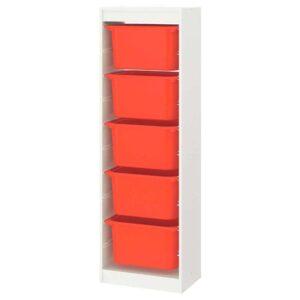 ТРУФАСТ Комбинация д/хранения+контейнеры, белый, оранжевый, 46x30x145 см - 493.359.02
