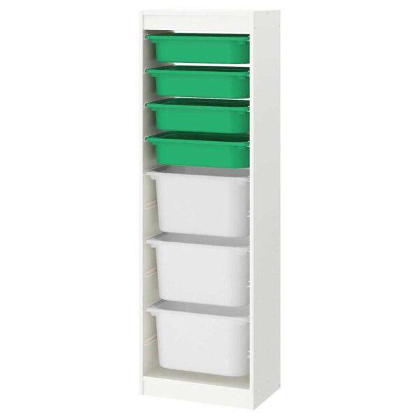 ТРУФАСТ Комбинация д/хранения+контейнеры, белый, зеленый белый, 46x145 см - 893.359.24