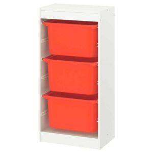 ТРУФАСТ Комбинация д/хранения+контейнеры, белый, оранжевый, 46x30x94 см - 293.359.84