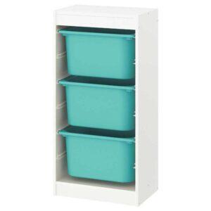 ТРУФАСТ Комбинация д/хранения+контейнеры, белый, бирюзовый, 46x30x94 см - 093.307.46
