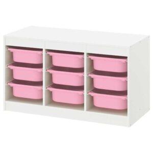 ТРУФАСТ Комбинация д/хранения+контейнеры, белый, розовый, 99x44x56 см - 093.315.57
