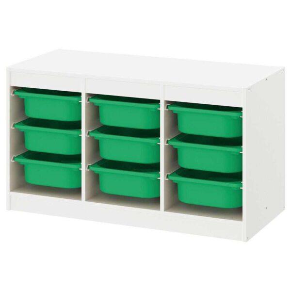 ТРУФАСТ Комбинация д/хранения+контейнеры, белый, зеленый, 99x44x56 см - 193.315.71