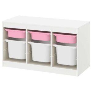 ТРУФАСТ Комбинация д/хранения+контейнеры, белый розовый, белый, 99x44x56 см - 793.316.10