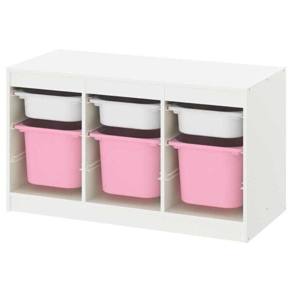 ТРУФАСТ Комбинация д/хранения+контейнеры, белый белый, розовый, 99x44x56 см - 593.355.10