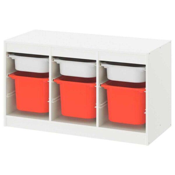 ТРУФАСТ Комбинация д/хранения+контейнеры, белый белый, оранжевый, 99x44x56 см - 793.355.14