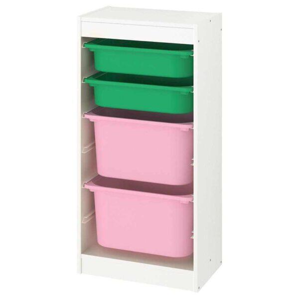 ТРУФАСТ Комбинация д/хранения+контейнеры, белый, зеленый розовый, 46x30x94 см - 293.382.80