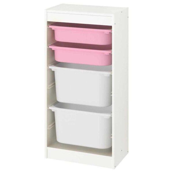 ТРУФАСТ Комбинация д/хранения+контейнеры, белый, розовый белый, 46x30x94 см - 393.383.74