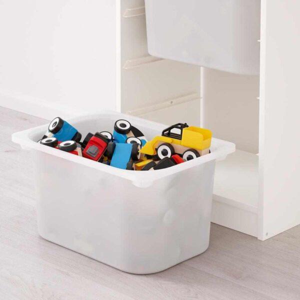 ТРУФАСТ Комбинация д/хранения+контейнеры, белый, белый бирюзовый, 46x30x94 см - 993.304.69
