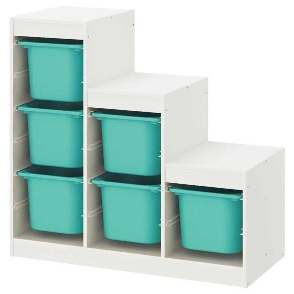 ТРУФАСТ Комбинация д/хранения, белый, бирюзовый, 99x44x94 см - 593.293.83