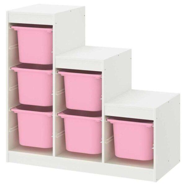 ТРУФАСТ Комбинация д/хранения, белый, розовый, 99x44x94 см - 693.355.38