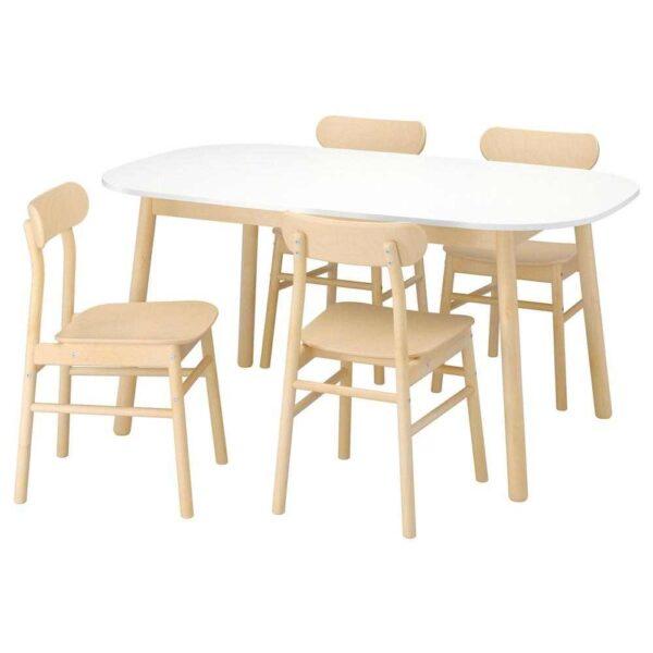 ВЕДБУ / РЁННИНГЕ Стол и 4 стула, белый, береза, 160x95 см - 593.068.81