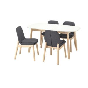 ВЕДБУ / ВЕДБУ Стол и 4 стула, белый, береза, 160x95 см - 493.068.86
