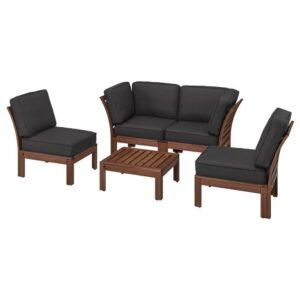 ЭПЛАРО 4-местный комплект садовой мебели, коричневая морилка, ЙЭРПОН/дувхольмен антрацит - 793.053.81