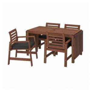 ЭПЛАРО Стол+4 кресла, д/сада, коричневая морилка, ЙЭРПОН/дувхольмен антрацит - 193.261.12