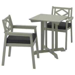 БОНДХОЛЬМЕН Садовый стол и 2 легких кресла, серый морилка, ЙЭРПОН/дувхольмен темно-серый - 593.297.07