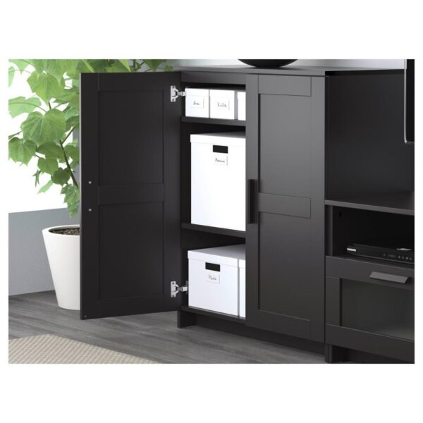 БРИМНЭС Шкаф для ТВ, комбинация, черный, 258x41x190 см - 993.966.48