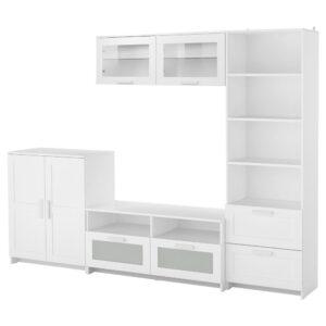 БРИМНЭС Шкаф для ТВ, комбинация, белый, 258x41x190 см - 393.966.51