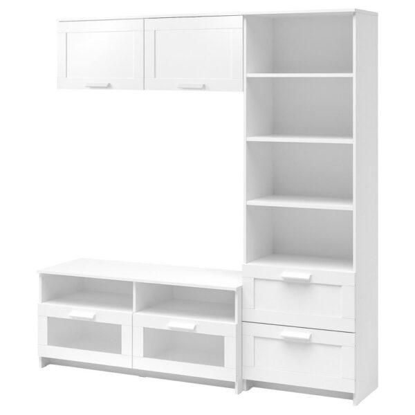 БРИМНЭС Шкаф для ТВ, комбинация, белый, 180x41x190 см - 193.966.47