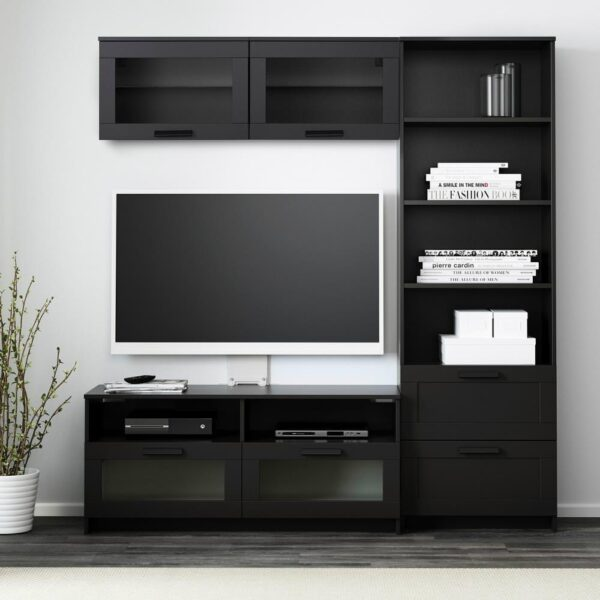 БРИМНЭС Шкаф для ТВ, комбинация, черный, 180x41x190 см - 193.966.52