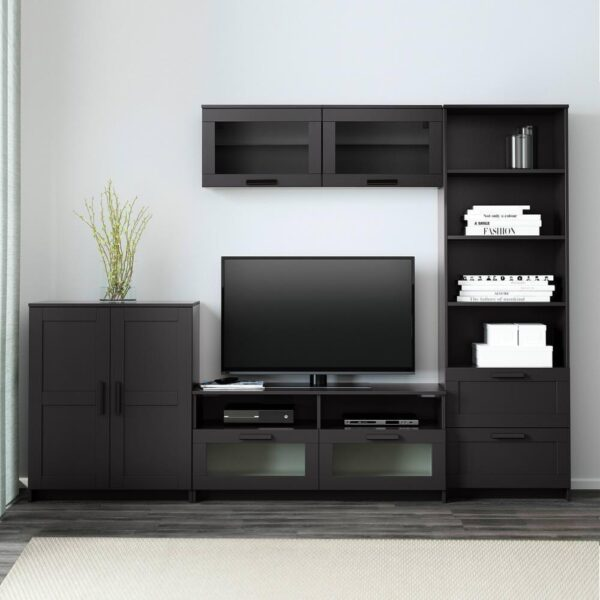 БРИМНЭС Шкаф для ТВ, комбинация, черный, 258x41x190 см - 793.966.49