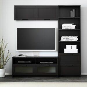 БРИМНЭС Шкаф для ТВ, комбинация, черный, 180x41x190 см - 393.966.46