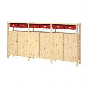 ИВАР 3 секции/шкаф/полки, сосна красный, 260x30x124 см - 593.908.70