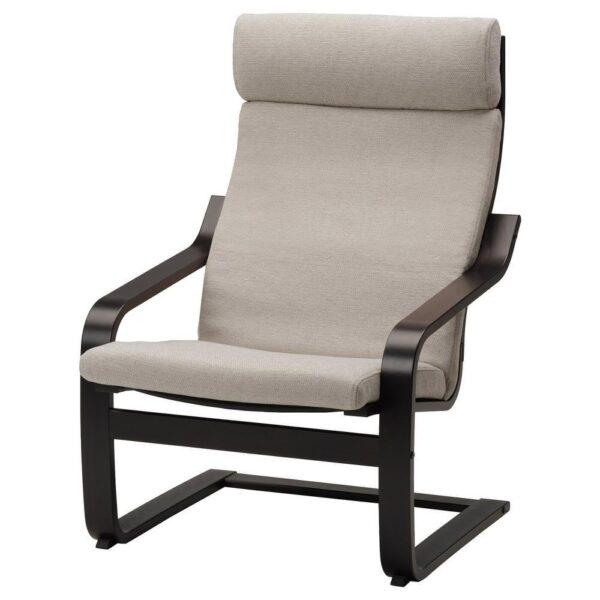 ПОЭНГ Кресло, черно-коричневый, Хили бежевый - 993.193.82