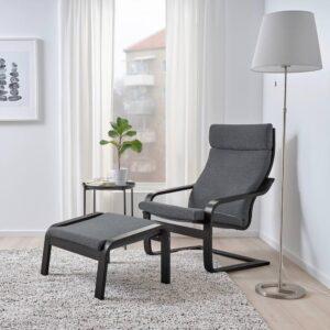 ПОЭНГ Кресло, черно-коричневый, Хили темно-серый - 193.193.81