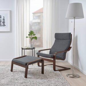 ПОЭНГ Кресло, коричневый, Хили темно-серый - 793.193.83