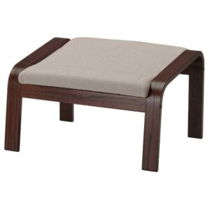 ПОЭНГ Табурет для ног, коричневый, Хили бежевый - 793.194.01