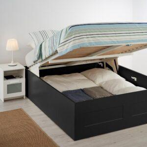 БРИМНЭС Кровать с подъемным механизмом, черный, 160x200 см - 904.852.10