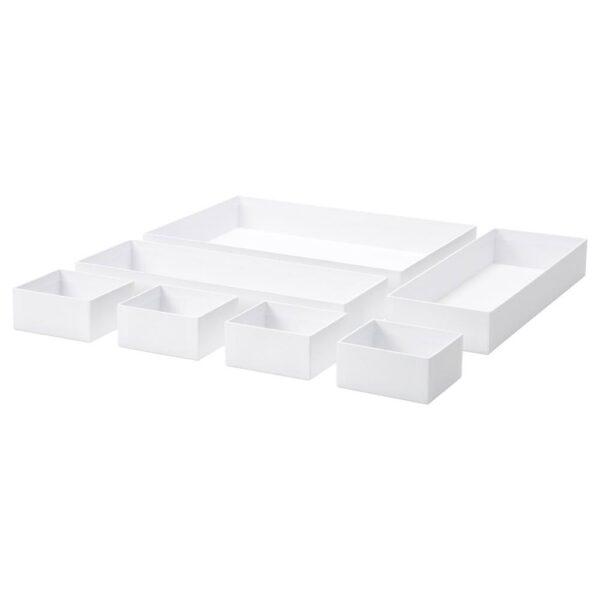 МАЛАРЕН Набор коробок, 7 шт., белый - 804.872.57