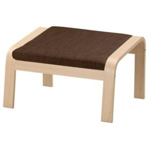 ПОЭНГ Табурет для ног, дубовый шпон, беленый, Шифтебу коричневый - 893.984.69
