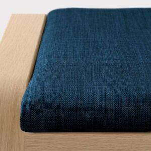 ПОЭНГ Табурет для ног, дубовый шпон, беленый, Шифтебу темно-синий - 493.984.66