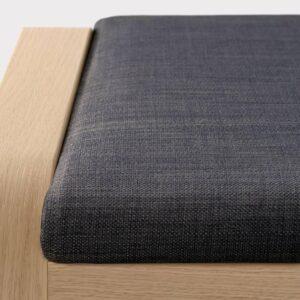 ПОЭНГ Табурет для ног, дубовый шпон, беленый, Шифтебу темно-серый - 093.984.68