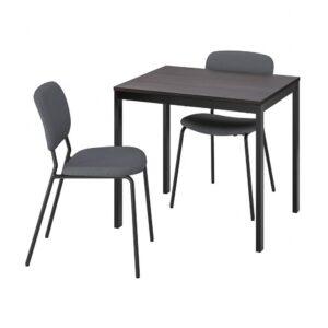ВАНГСТА / КАРЛ-ЯН Стол и 2 стула, черный темно-коричневый, Кабуса темно-серый, 80/120 см - 893.887.62