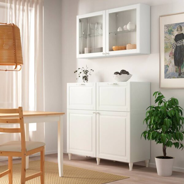 БЕСТО Комб для хран с дверц/ящ, белый Смевикен, ОСТВИК/КАББАРП белый прозрачное стекло - 493.849.40
