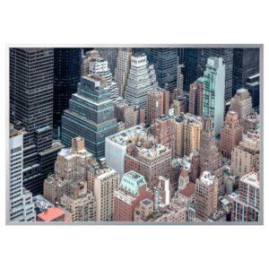 БЬЁРКСТА Картина с рамой, Нью-Йорк с высоты, цвет алюминия - 793.847.31