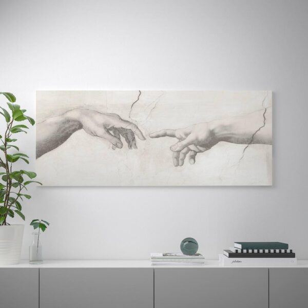 БЬЁРКСТА Картина с рамой, Прикосновение, цвет алюминия - 492.984.24