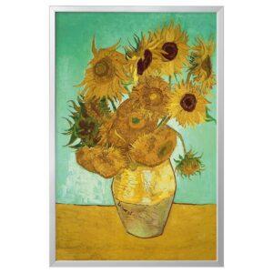 БЬЁРКСТА Картина с рамой, натюрморт, Ваза с двенадцатью подсолнухами цвет алюминия - 993.848.34