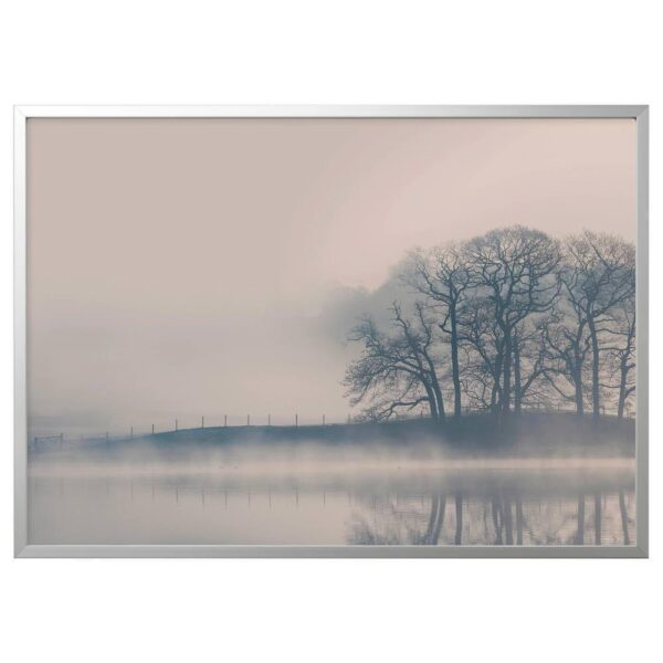 БЬЁРКСТА Картина с рамой, Туманный пейзаж, цвет алюминия - 093.846.83