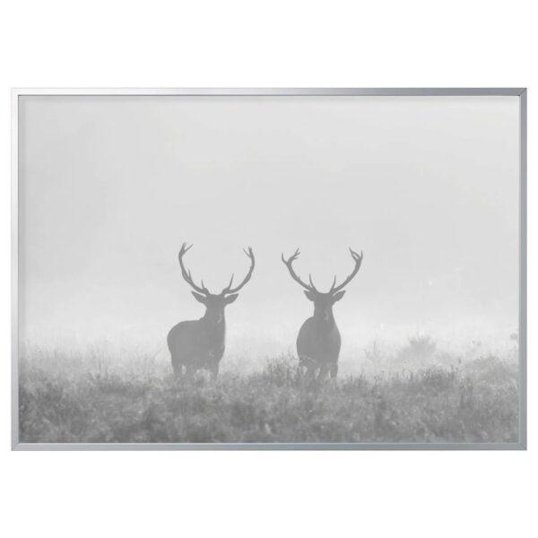 БЬЁРКСТА Картина с рамой, Олени в тумане, цвет алюминия - 893.847.21