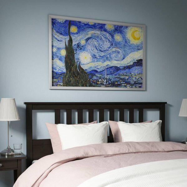 БЬЁРКСТА Картина с рамой, Звездная ночь, цвет алюминия - 693.846.61
